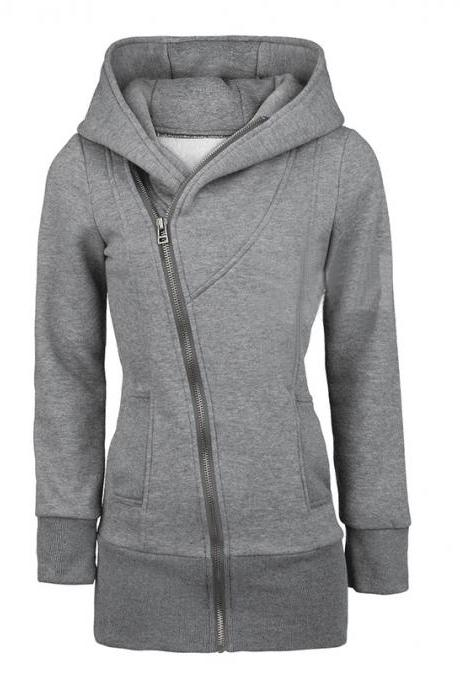 Zippered Plus Size Women's Hooded Coat
