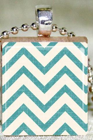 Chevron Zig Zag Scrabble Tile Pendant with Necklace and Matching Gift Tin
