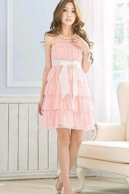 Attractive Girl Lolita Princess Matching thread Bow Cake Chiffon Bridesmaid Cocktail Dress