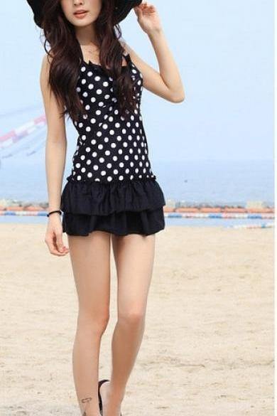 Black Color White Dot Swimsuit Swimwear Beach Cover up Swimdress Bikini Top Bottom Set