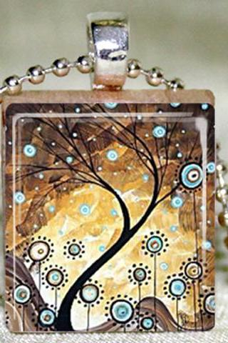 Abstract Tree of Life Scrabble Pendant with Necklace and Matching Gift Tin