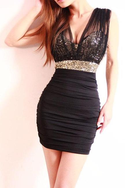 Bodycon Sequinned Dress Featuring Embellished Empire Waist and See Through Mesh