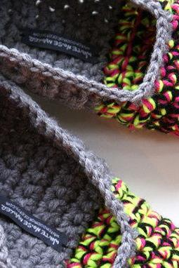Crochet Slippers for Women, House Shoes in Grey, Neon Yellow, Pink & Black, Ballet Shoes, Flats, Slipper Socks