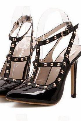 Pointed Toe Studded Black High Heel Fashion Shoes