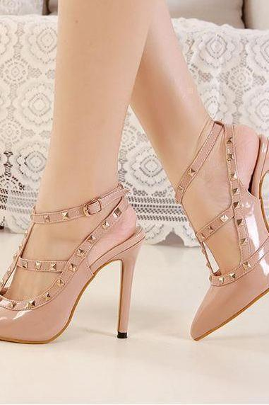 Nude Studded Pointed Toe High Heels Shoes
