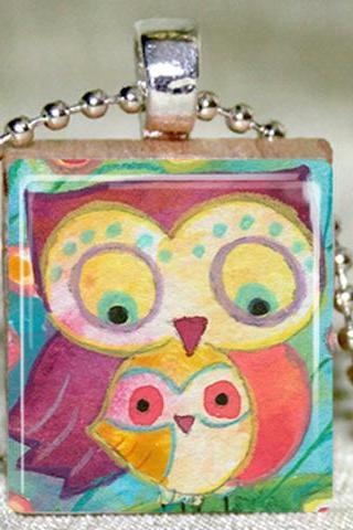 Mother and Baby Owl Scrabble Pendant with Necklace and Matching Gift Tin