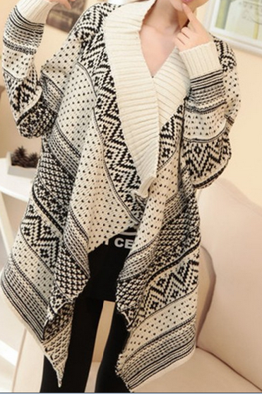 Shawl long-sleeved sweater coat AX090302ax