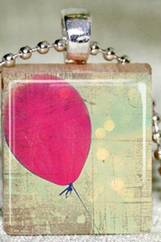 Red Balloon Scrabble TIle Pendant with Necklace and Matching Gift Tin