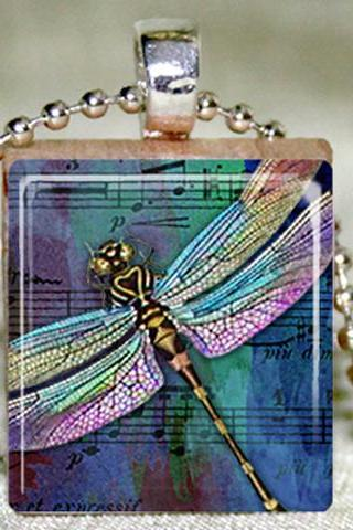 Dragonfly on Sheet Music Scrabble Pendant with Necklace and Matching Gift TIn