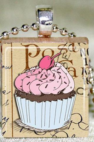 Cupcake Scrabble Pendant with Necklace and Matching Gift Tin