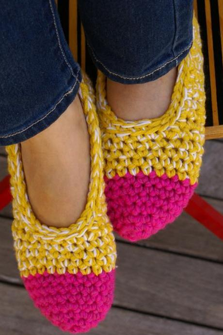 Women's Crocheted Slippers, House Shoes in Hot Pink & Yellow, Slippers Socks, Ballet Shoes, Flats