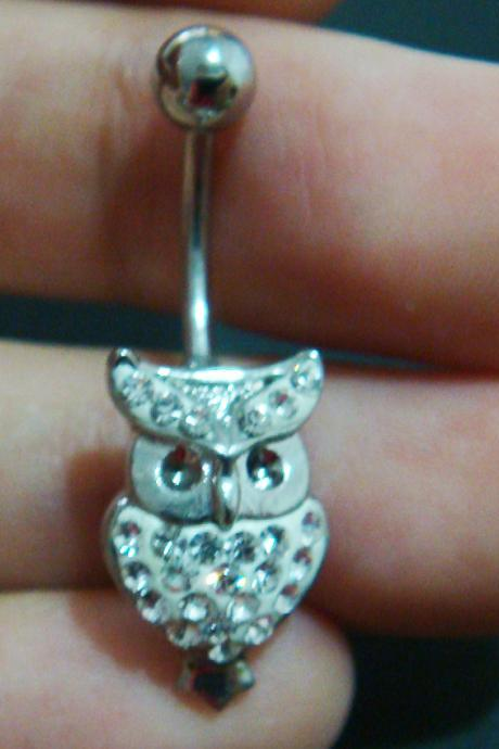 Cute owl belly rings navel ring bar button body piercing jewelry