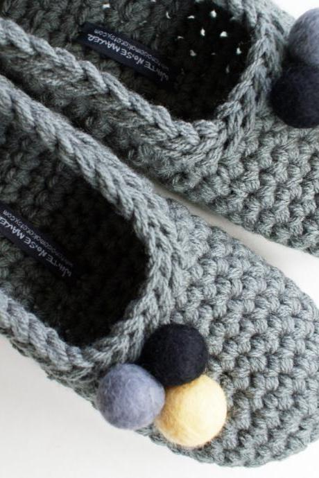 Grey Crochet Slippers With Felted Pom Pom for Women