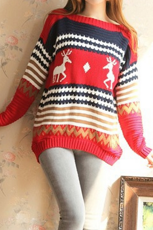 Stylish stitching loose long-sleeved sweater #090309AX