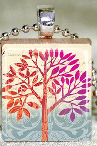 Friendship Tree Scrabble Pendant with Necklace and Matching Gift Tin