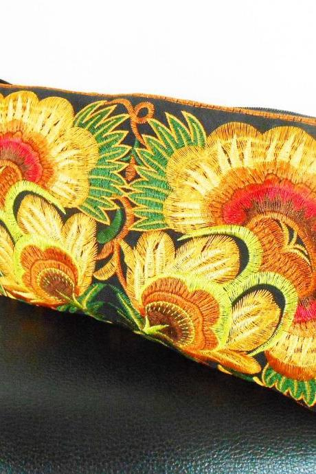 Colorful Gold cotton embroidered purse on Black Fabric of Chinese Hmong Hilltribe Thailand. (KP1052-GOBK)