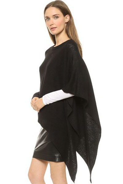 Cheap Fashion Boat Neck Asymmetrical Black Cotton Blends Regular Pullover Sweater