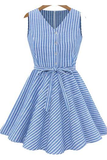 High Quality V Neck Sleeveless Striped Dress - Blue