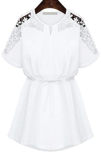 Casual Short Sleeve Lace Patchwork Dress - White