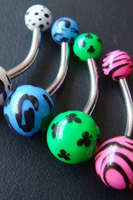 LOT 4 pcs 14g~3/8 Belly Button Navel Rings Ring Bars Ear Body Piercing Jewelry