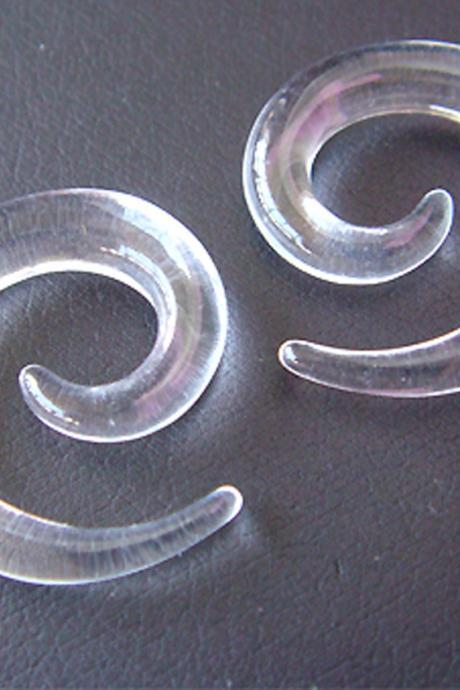 ONE PAIR 4mm Clear 6g UV Acrylic Ear Plugs Rings Earrings Earlets lobe Spiral Body Piercing