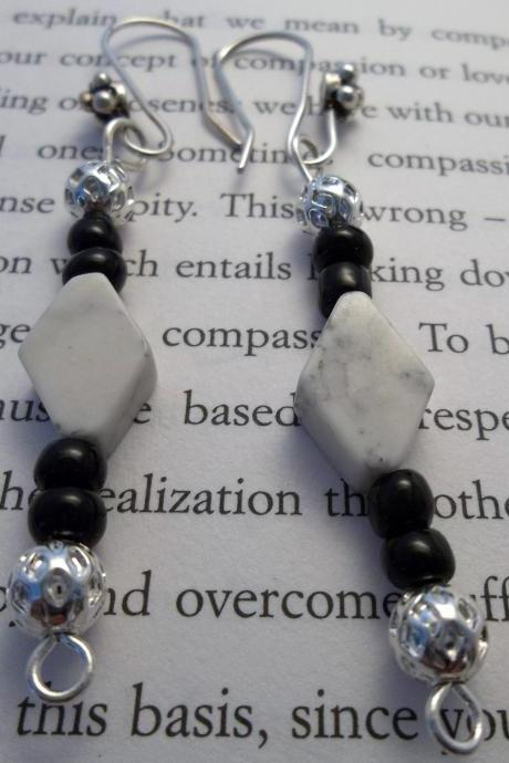 Black and White Diamond Beaded Earrings