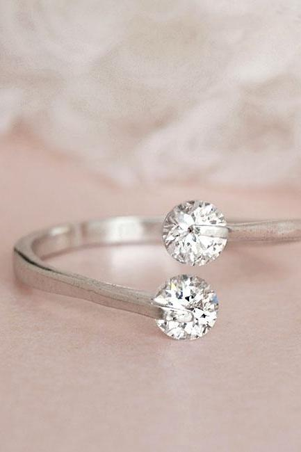 Silver Double Crystal CZ Ring, Adjustable Ring Size