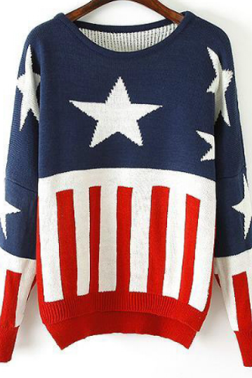 Flag stitching loose sweater AX090406ax