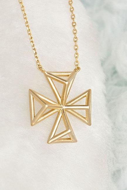 Gold Filigree Square Cross Charm Long Necklace