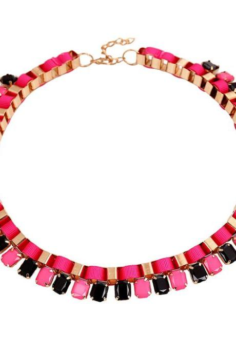 Fashion Gems Knitted Red Metal Necklace