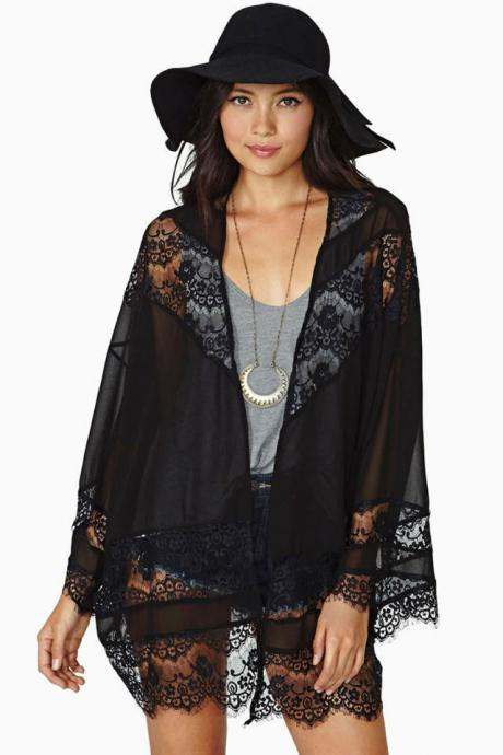 Cheap Fashion Long Sleeves Lace Patchwork Solid Black Long Coat