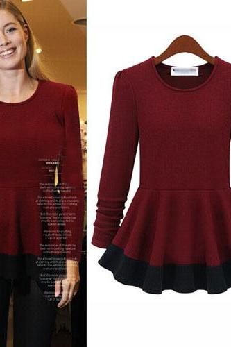 Cheap New Style O Neck Long Sleeves Solid Drapes Design Patchwork Wine Red Cotton Blends T-shirt