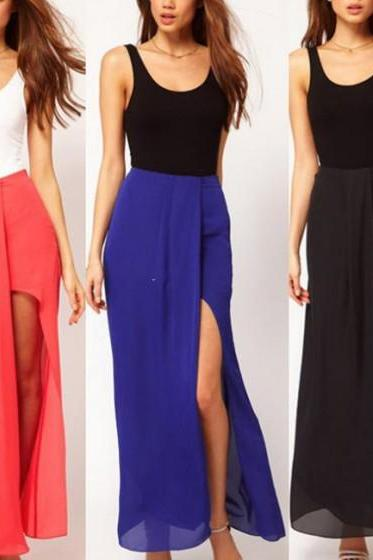 Sexy Boho Retro Women Chiffon Skirt Open Side Split Solid Long Maxi Skirt