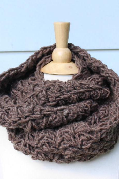 Crochet scarf - Hand crochet infinity scarf - brown cowl scarf - circle scarf - warm womens winter scarf - wool blend - ready to ship