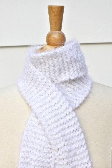 Hand knit scarf - long and skinny winter white warm scarf - super soft wool blend yarn - bright white