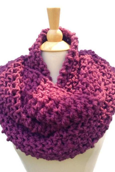 Hand crochet chunky infinity scarf - plum purple chunky cowl scarf - circle scarf - wool blend yarn - women's winter scarf - ready to ship