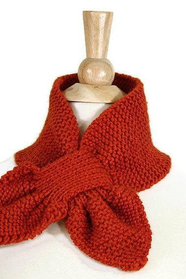 Orange Knitted scarf keyhole scarf unique warm adult winter SC-36