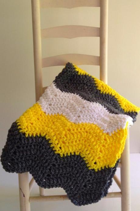 Hand crochet baby blanket - Sunshine yellow, slate gray and white - gender neutral baby afghan in a ripple chevron pattern - ready to ship