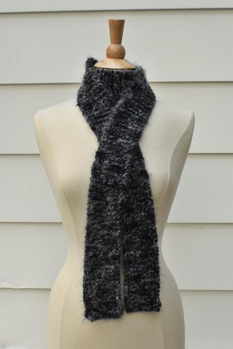 Hand knit scarf in shades of gray - skinny and long warm winter scarf knit in a super soft wool blend yarn