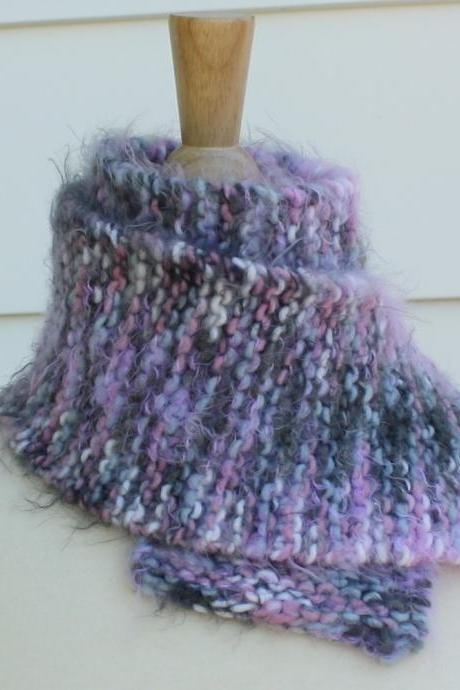 Hand knit scarf - warm winter scarf in pink, gray and white - super soft wool blend yarn