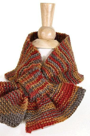 Hand knit scarf - autumn color orange and brown keyhole scarf - warm winter scarflette