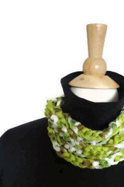 Hand crochet lightweight cowl - necklace infinity scarf in spring green, white and tan - ready to ship