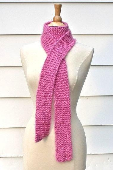 Hand knit scarf - Long and skinny bright pink scarf knitted in a super soft wool blend yarn - warm for winter