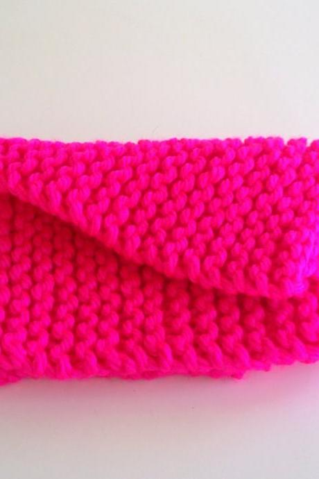 Hand knit cowl scarf - Hot pink neckwarmer - circle scarf - Unique womens winter scarf - ready to ship