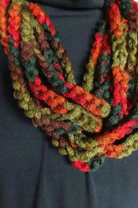 Hand crochet infinity scarf necklace - lightweight cowl in autumn colors of green, rust orange and brown - ready to ship