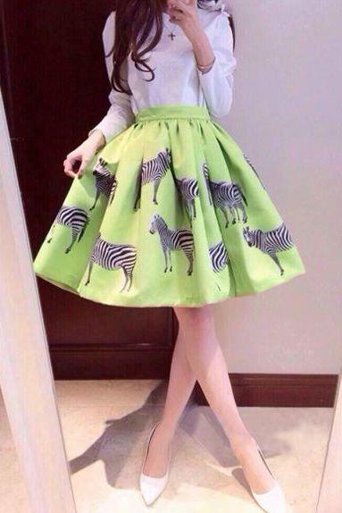 Fresh Princess Style Fluffy Pleated Zebra Pattern Natural Waist Fashionable Skirts