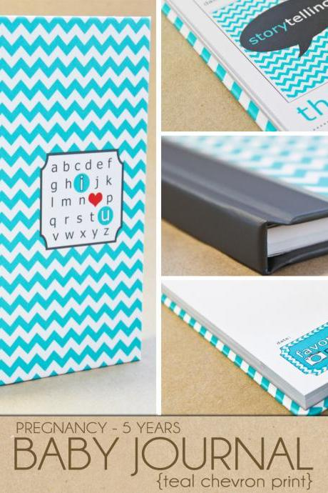 Baby Book - Teal Chevron (125 designed journaling pages to record pregnancy up to 5 years)
