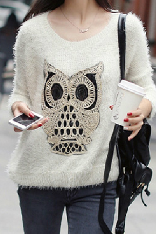 Owl stitching bat sweater AX090503ax