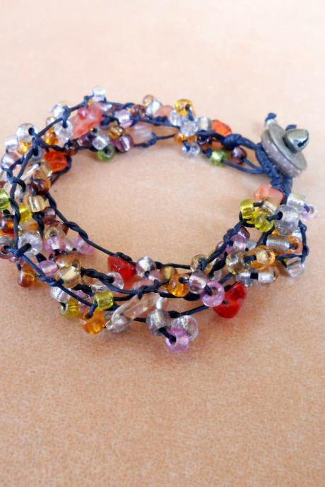 Colorful Glass beads, Wax String Bracelet Handmade Jewelry, Brass Coins. (JB1007-OR)