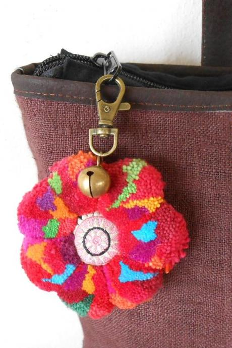 Colorful Flower Pom Poms Keychain Zip Pull Bag Accessory Decoration by Handmade. (AC1002)